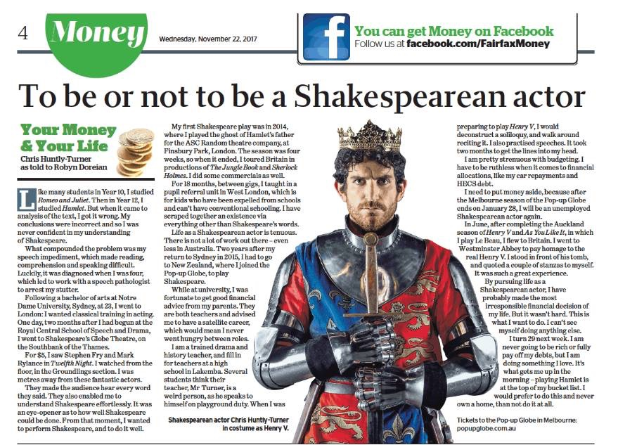 To be or not to be a Shakespearean actor - Chris Huntly-Turner